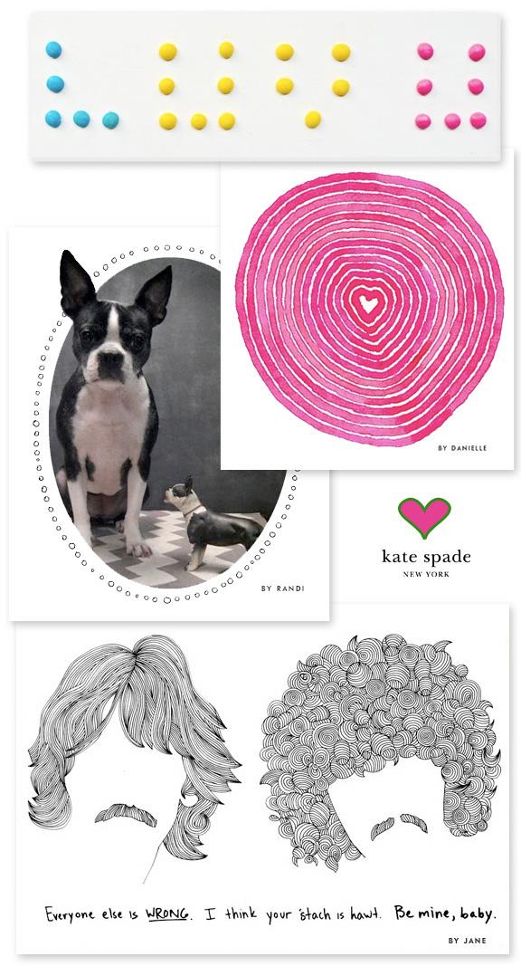 Kate Spade has just launched (today) a selection of free Valentine e-cards